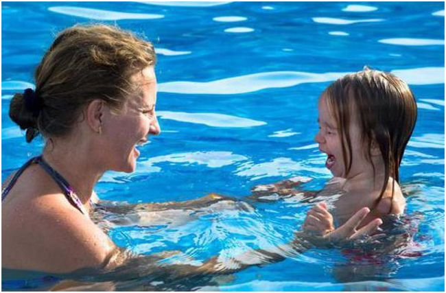 мама и дочка в бассейне