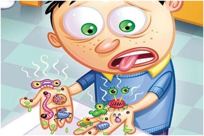 микробы на руках у мальчика рисунок
